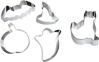 Halloween Cookie Cutters - Stainless Steel 5 Piece Set (Pumpkin, Ghost, Cat, Bat, Witch's Hat)