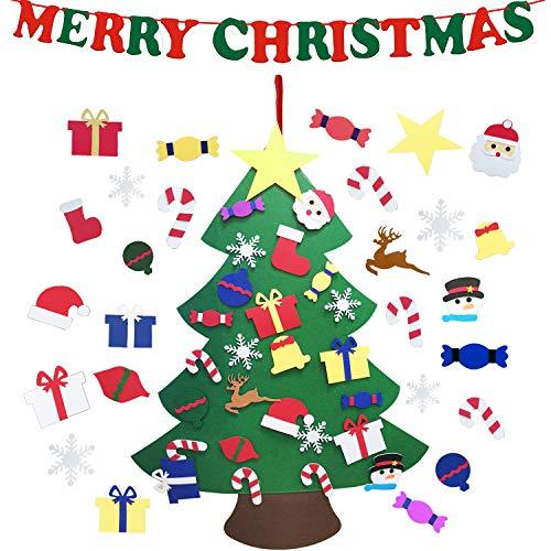 CJCX Feltro Albero Natale 3.3ft della Feltolta di DIY con 26 PCS Ornamenti Staccabili + 1 Banner con Merry Christmas Bambini Regali di Natale Decorazioni Natalizie