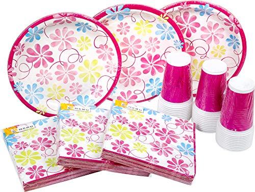 HEKU 30005, Set di stoviglie monouso per feste, con piatti, bicchieri e tovaglioli, 120 pezzi Summerwind Pink