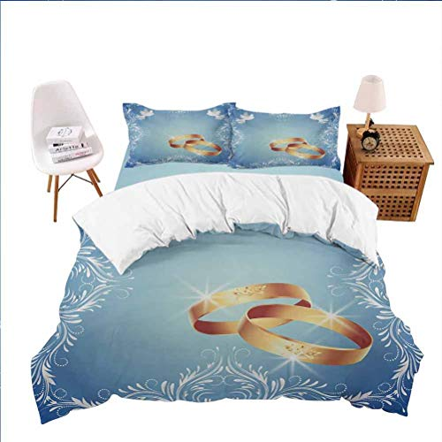 Twin Christmas Comforter Sets (1 Duvet Cover+2 Pillowcases) Celebration Ornament Frame and Two Flying Doves Heart Shapes Wedding Rings Blue White Gold