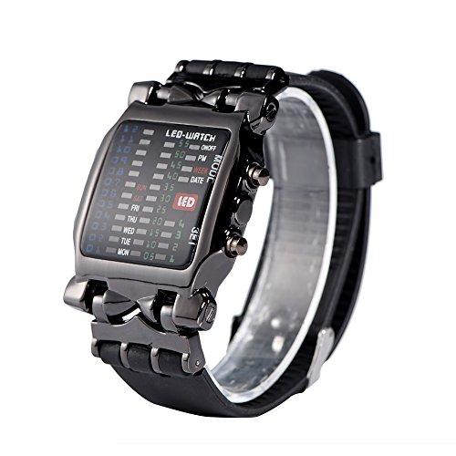Armbanduhr Elektronische LED-Uhr Männlich Weiblich PU-Armband Rechteckiges Zifferblatt mit Datum und Woche Funktion