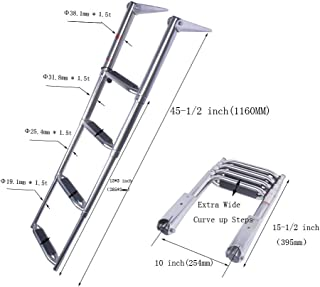 Hoffen 4 Steps Drop Down Boarding Ladder with Extra Wide Curve up Steps 600 lbs. Capacity, Round Tubing Over Mount