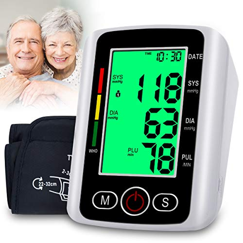 Blood Pressure Monitor, Automatic Digital BP Monitor Upper Arm with Cuff 22-32cm, Large Screen, 2 * 99 Reading Memory, Blood Pressure Machine Pulse Rate Monitor for 2 User Adult Home Use