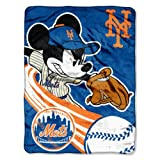 The Northwest Company Officially Licensed MLB New York Mets Disney's Mickey Mouse Co Windup Micro Raschel Throw Blanket, 46' x 60', Multi Color