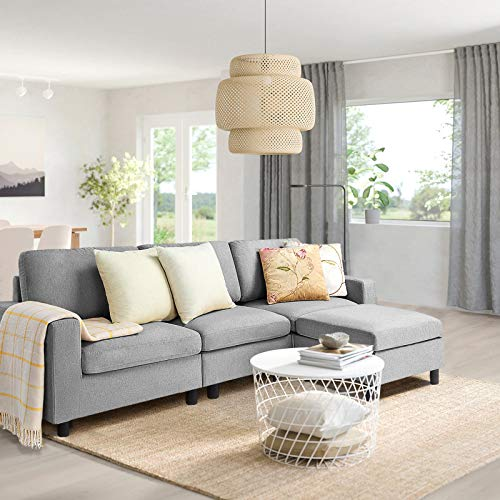 Pukami Convertible Sectional Tiny Sofa Couch for Living Room, Reversible Chaise with Modern Linen Fabric, L-Shaped 3-seat Sofa Couch with Ottoman for Small Space, Apartment,Dorm,Juvenile (Light Grey)
