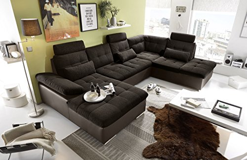 moebel-guenstig24.de Couch Jakarta Wohnlandschaft Sofa Lederlook Schlaffunktion Schlafsofa braun schwarz Ottomane rechts 324 cm