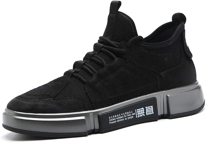 Men's Casual shoes, Fashion Deck shoes Lace Up Low-top Casual shoes Leather Hiking shoes Outdoor Walking shoes Black YAN (color   Black, Size   38)