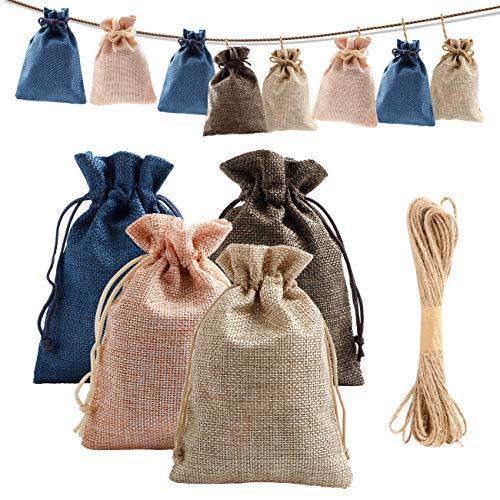 EXTSUD Jutebeutel Jutesäckchen 24 Stück, Jute Beutel 9 x 13 cm Stoffbeutel zum Befüllen Weihnachten Geschenksäckchen für Adventskalender, Süßigkeiten, Schmuck und DIY Handwerk