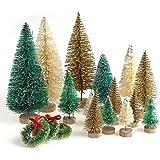 SUCHUANGUANG 30 Piezas Miniatura sisal Esmerilado árboles de Navidad Botella Cepillo árboles Adornos Colgante Colgante