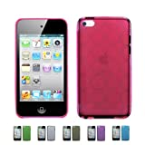 HOT PINK Apple iPod Touch 4 4G w/Cameras (iPod Touch 4G, iPod Touch 4th Generation) 16GB 32GB 64GB BUBBLE TPU Transparenet Silicone Gel Case Skin Cover + Free Screen Protector