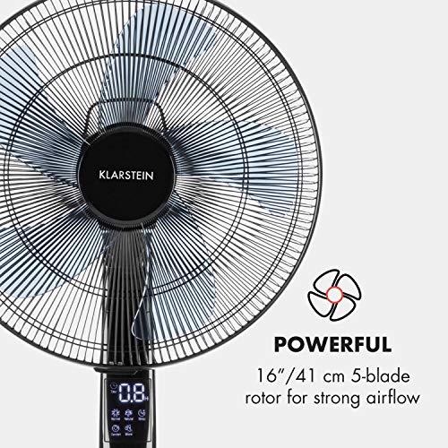"""Klarstein Silent Storm 2019 Edition Standventilator mit Fernbedienung (Räume bis 80 m³ (~30 m²), 35 Watt, 12 Geschwindigkeiten, 5-Blatt-Rotor, 16"""" (41cm) Durchmesser, Timer) schwarz"""