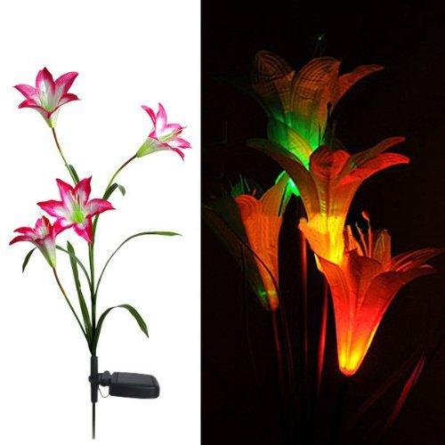 Eng Solar Leuchten 4de lirios Flores LED Luz Lámpara Jardín Césped Decor–Rojo