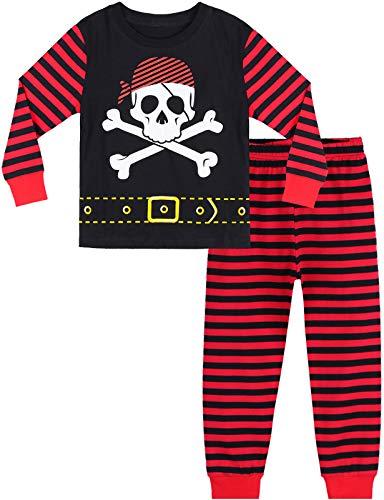 MOMBEBE COSLAND Jungen Pirat Schädel Zweiteiliger Schlafanzug, 9-10 Jahre, Schwarz/Rot