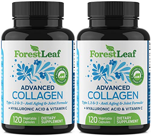 dvanced Collagen Supplement, Type 1, 2 and 3 with Hyaluronic Acid and Vitamin C - Anti Aging Joint Formula - Boosts Hair, Nails and Skin Health - 240 Capsules - by ForestLeaf