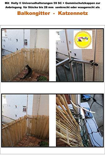 - Zonder staven - zonder net - alleen houder - met spanbekken tot 40 mm - kattennet bevestiging met Holly ® houder - voor ronde staven tot Ø 30 mm - voor balkonleuningen tafelstoelschermhouder nr. 59SC - STABIELO - MET - 2 - rubberen doppen (3,50 euro) voor krasvrije behang. Stung - Holly ® Stabilo ® - Made in Baden World - de aluminium schroefstangen zijn verkrijgbaar onder ASIN B003B8G480, https://vimeo.com/241400344.