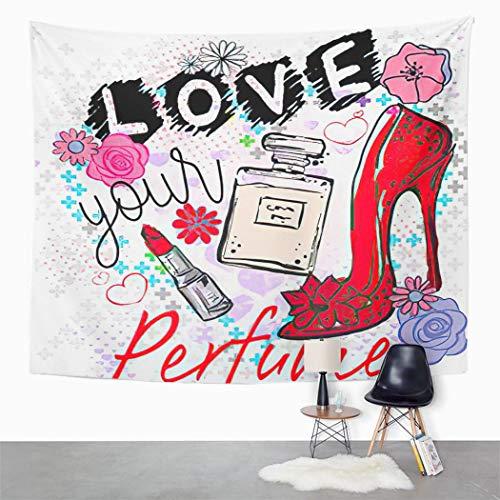Y·JIANG Tapiz Tee lindo romántico gráfico niña bosquejo eslogan niños dormitorio decorativo grandes tapices de pared ancha para colgar en la sala de estar, dormitorio, 60 x 50 pulgadas