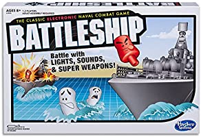 BATTLESHIP - Electronic with Carry Case - Naval Combat Game - 1 to 2 Players - Strategy Family Board Games and Toys for...