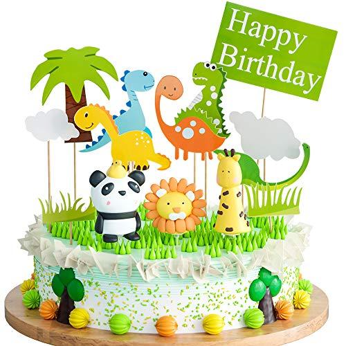 Joyoldelf Cake Toppers Zoo/Dschungel-Themed Tier, Tortendeko Geburtstag für Kinder Junge Mädchen Geburtstag Party Kuchen Dekoration 14 Stücke 1. Geburtstag