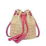 L Bolsa de Playa de Paja Vintage Hecho a Mano de Hombro Tejido Bolsas de ratán Bolsas de Cubo Bohemio Vacaciones de Verano Casual Bolsas Bolsas Saco (Color : Hot Pink)