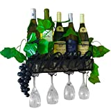 Wall mounted wine rack and glass holder - With 4 glasses - A 5 bottle wine holder rack and a cork holder -A wine wall rack that's an ideal home decor for kitchen with grapes and leaves theme set
