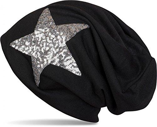 styleBREAKER Beanie Mütze mit Pailletten Stern, Slouch Longbeanie, leicht, Damen 04024067, Farbe:Schwarz