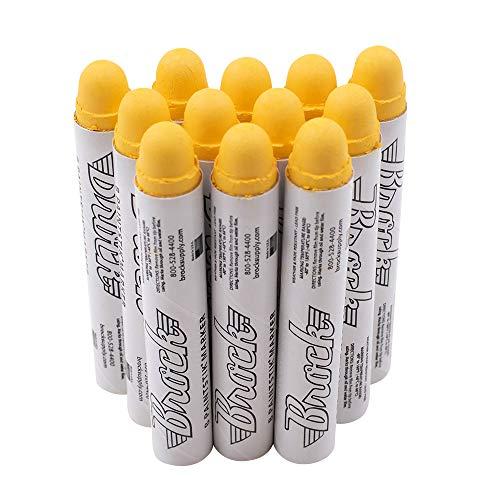 12 Pc Box Yellow Markal B Paintstiks Crayon Marks Water Oil Dirt Extreme Temp Paint Stick Chalk for Auto Tire Construction Fabric Lumber AutoAndArt