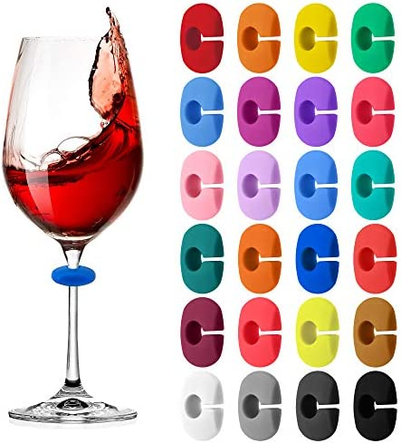 24 Pcs Wine Glass Charms Markers Drink Markers Silicone Wine Glass Markers Glass Identifiers product image