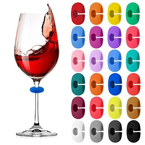 24 Pcs Wine Glass Charms Markers Drink Markers, Silicone Wine Glass Markers Glass Identifiers for Glass Cup Champagne Flutes Cocktails, Martinis