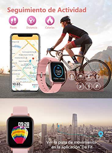 """NAIXUES Smartwatch, Reloj Inteligente Impermeable IP67 Reloj Deportivo 1.4"""" Pantalla Táctil Completa con Pulsómetro, Monitor de Sueño, Podómetro, Notificaciones para Mujer Hombre (Negro) 4"""