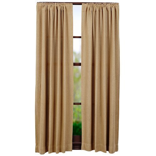 """Jody Clarke Set of 2PC Burlap Natural Cotton Window Panels Fully Stitched with Rod Pockets with Matched Valanced Sold Separately Curtains (84"""" Long)"""