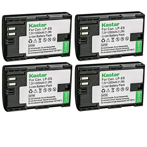 Kastar 4-Pack Battery Replacement for Canon LP-E6, LP-E6N, LP-E6N Pro, LP-E6NH Battery, Canon LC-E6, LC-E6E Charger, Canon BG-E6, BG-E9, BG-E11, BG-E13, BG-E14, BG-E16, BG-E20, BG-E21, BG-E22 Grip