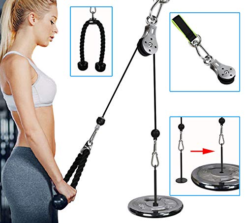 Forearm Wrist Roller Trainer Arm Strength Training Rope Cable Pulley System Muscle Strength Fitness...