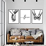 set di stampe da parete premium poster quadri moderni soggiorno tenersi per mano in bianco e nero poster abbinati per casa e ufficio senza cornice(l)