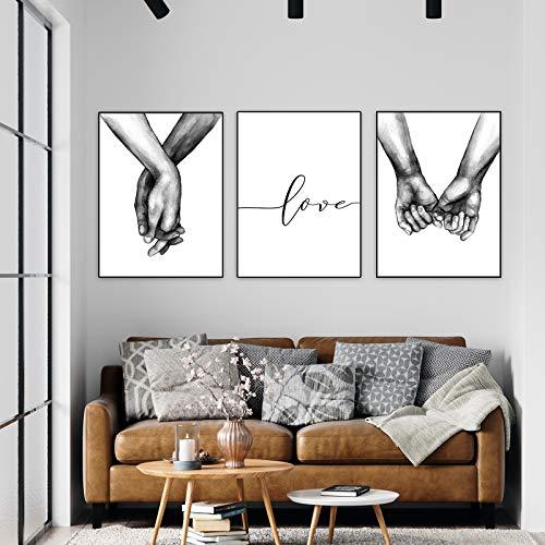 Jroyseter Set di Stampe da Parete Premium Poster Quadri Moderni Soggiorno Tenersi per Mano in Bianco E Nero Poster Abbinati per Casa E Ufficio Senza Cornice