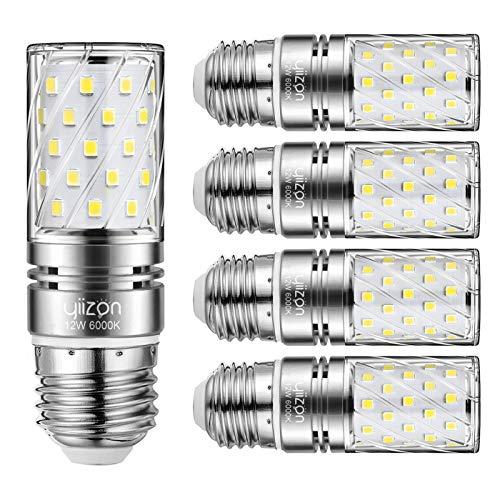 Yiizon LED M Glühbirne, E27, 12W, entspricht 100 W Glühlampe, 6000 K Kaltweiß, 1200lm, Edison-Schraube, nicht dimmbar Kandelaber LED Glühlampen(5 PCS)