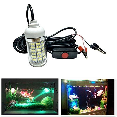 Aquariumverlichting, aquariumdecoratie, IP68 12V-24V 108 LED duiklamp met krokodillenklem die de vislamp aantrekt, Calda luce gialla