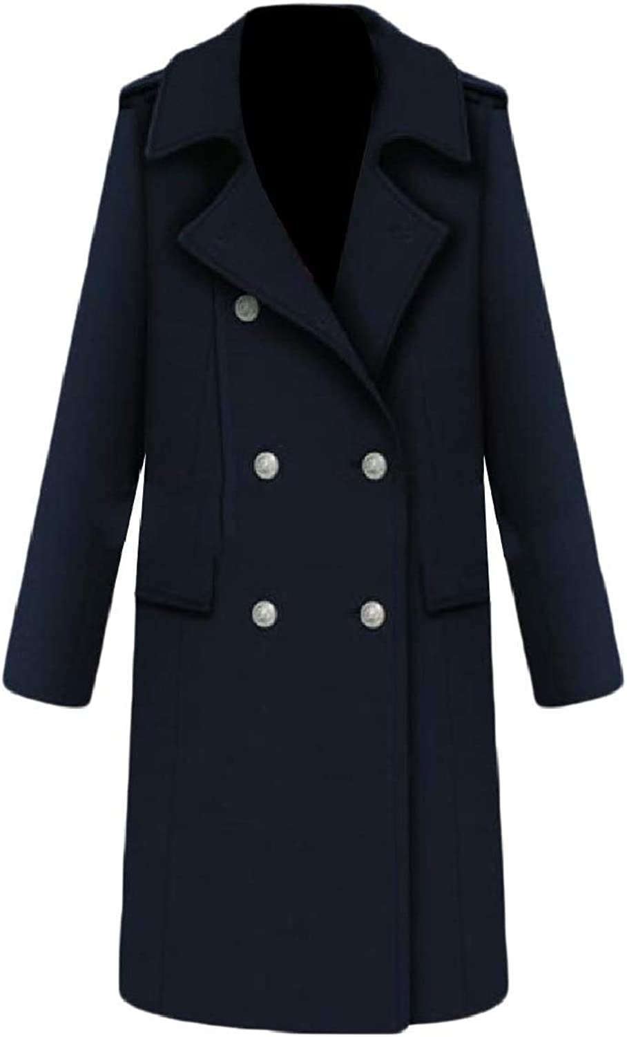 Abetteric Women's Long Thick Slim Fitted Double Button Wool Worsted Coat