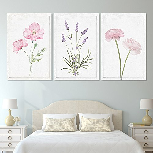 wall26 - 3 Panel Canvas Wall Art - Hand Drawn Lavender Pink Flowers Artwork - Giclee Print Gallery Wrap Modern Home Art Ready to Hang - 16'x24' x 3 Panels