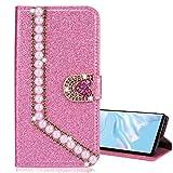 Nadoli Leder Hülle für Galaxy S10,Luxus Bling Glitzer Diamant 3D Handyhülle im Brieftasche-Stil Perle Herz Flip Schutzhülle Etui für Samsung Galaxy S10,Rosa -