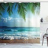 ABAKUHAUS Ozean Duschvorhang, Palmen Tropische Insel, mit 12 Ringe Set Wasserdicht Stielvoll Modern Farbfest & Schimmel Resistent, 175x180 cm, Grün & Blau