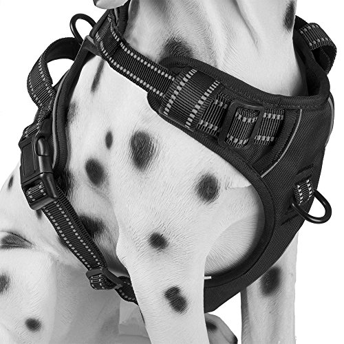 PoyPet No Pull Dog Harness with Front Clip, Comfortable Reflective Pet Vest Harness with Handle for Puppy Small Dog (Black, XS)
