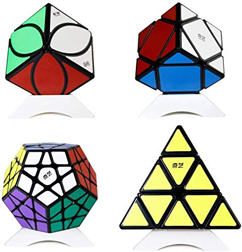 OJIN Speed Cube Bundle Megaminx & Skewb & Lvy Cube & Pyramid Bright Magic Cube Black con Embalaje de Regalo + Cuatro trípodes