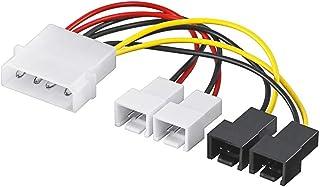 Goobay 93632 Netzkabel / Adapter für PC Lüfter, 5,25 Zoll Stecker an Lüfter 2x 12 V / 2x 5 V, 0,15 m