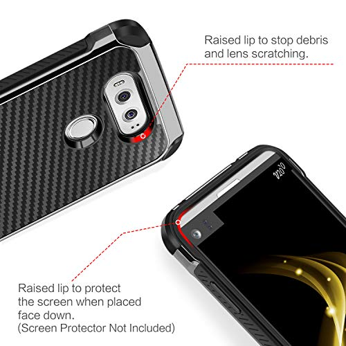 LG V20 Case, BENTOBEN 2 in 1 Cool Slim Hybrid Rugged Hard PC Resilient Strength Durable Laminated with Carbon Fiber Design Chrome Anti-scratch Shockproof Protective Case for LG V20 (2016), BLACK