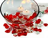 Floating Candle(2 pcs) Glass Clear Flat Gems Red Heart Acrylic Diamonds for Table Scatter, Vase Filler, DIY Crafts Centerpieces, Home Decor