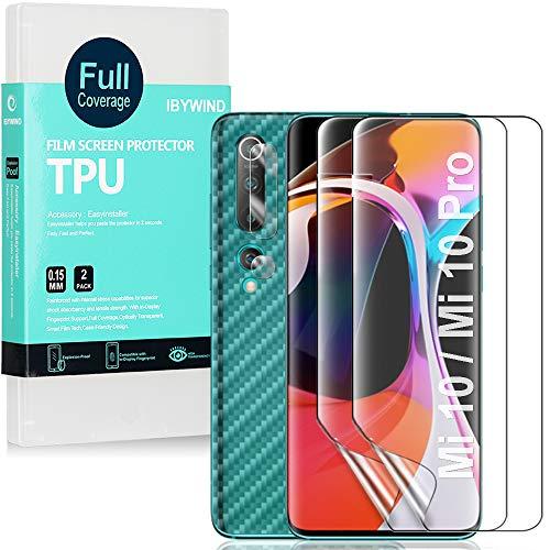 Ibywind [2 Piezas,Protector de Pantalla de hidrogel para Xiaomi Mi 10 / Mi 10 Pro,Protector de Lente de Cámara,Atrás Pegatina Protectora Fibra de Carbono,[Admite la función de Huella Digital]