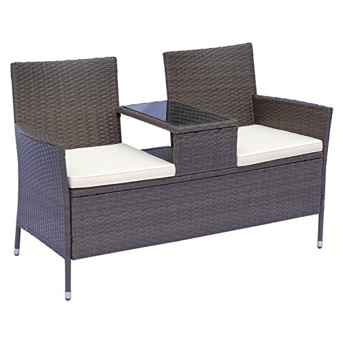 Outsunny Rattan Garden Sofa Bench With Table 2Seater Steel Garden Bench Brown B133x T63x H84cm