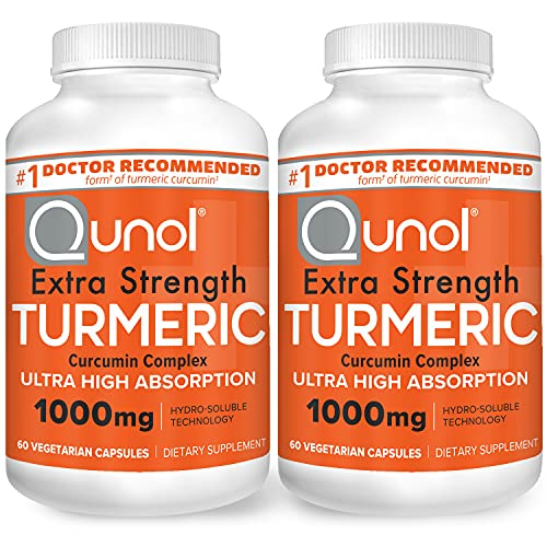 Turmeric Curcumin Capsules, Qunol with Ultra High Absorption 1000mg, Joint Support, Dietary Supplement, Extra Strength, 2 Packs of 60 Count Capsules