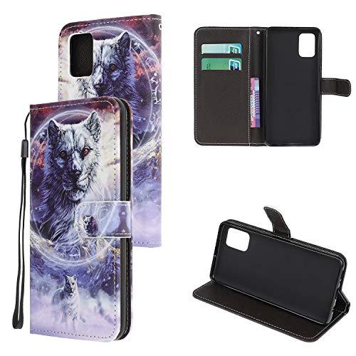 Miagon Bunt Muster Full Body Hülle für Samsung Galaxy A41,PU Leder Leder Flip Case Schutzhülle Tasche mit Ständer Kartenfach Magnetschnalle,Schnee Leopard