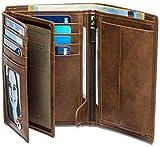 Noah Noir® Geldbeutel Hochformat (15 Kartenfächer) TÜV geprüfter RFID Schutz - mit großem Münzfach (in 3 Farben) mit edler Geschenkbox (Retrobraun)